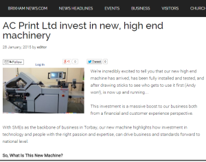 AC Print Ltd featured article on BrixhamNews.com
