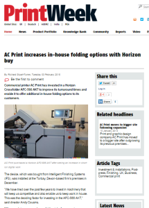 PrintWeek Article AC Print Ltd New Investment