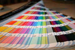 Pantone book or 'fan' used in graphic design and commercial print industries