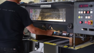 AC Print Ltd Lithogrphic Print Machine In Action nr Teignbridge