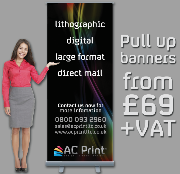 Our pull up banners start at £69 + VAT