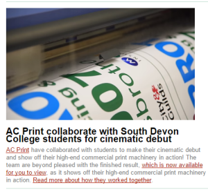 Torbay & Tamar Business Group Newsletter features AC Print Ltd commercial print video